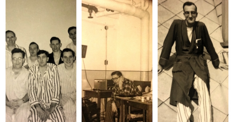 (From L-R) Eugene Parsons (in striped PJs) while a patient at the sanatorium; Eugene working on his new hobby; Wallace Parsons as a patient. (Photos courtesy of Joyce Pruszenski)