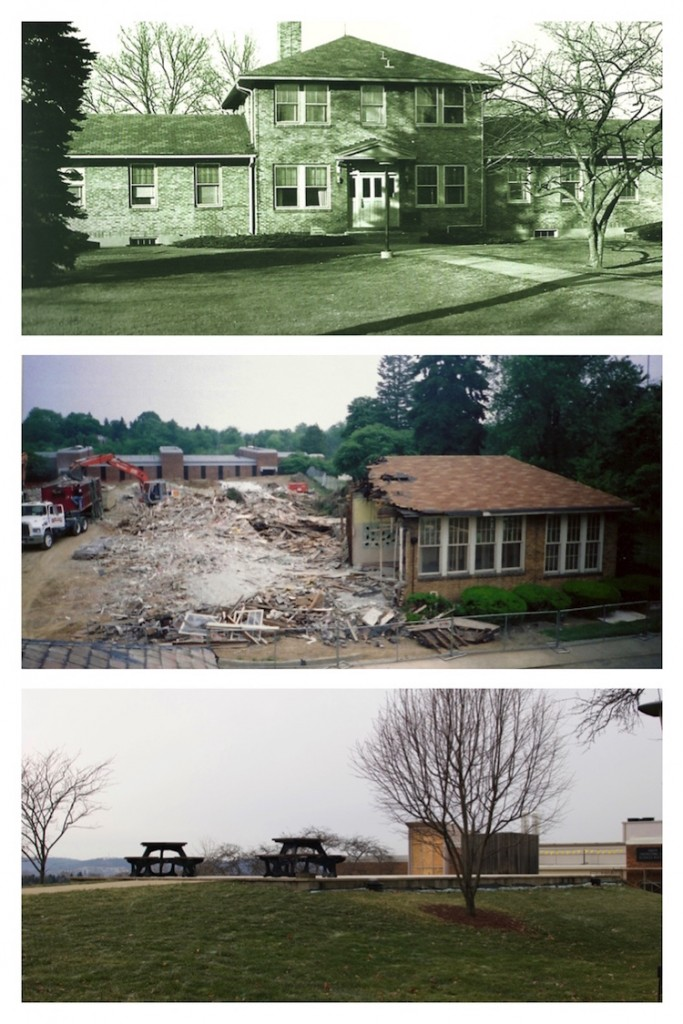(From top - bottom) The original Administration Building on the Penn State campus, after is was acquired from the sanatorium; the building during demolition; the concrete slab - all that's left today of the sanatorium. (Top two photos courtesy of Penn State Beaver)