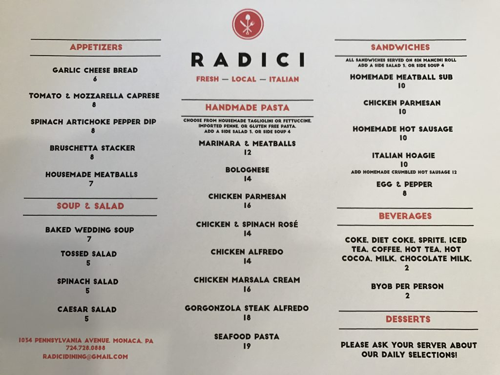 Radici monaca 39 s newest gem your beaver county for The local italian menu
